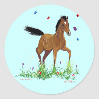Foal and Butterflies Stickers
