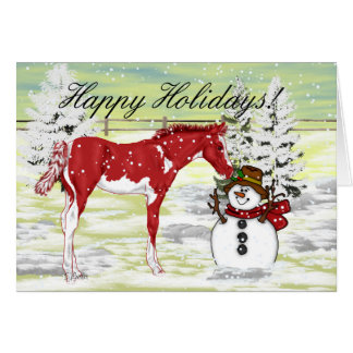 Foal and Snowman Christmas Card