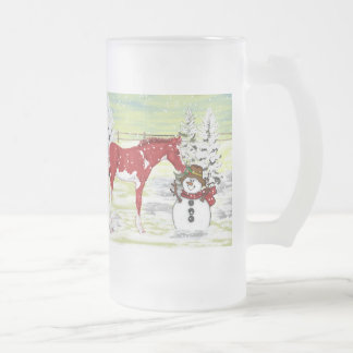 Foal and Snowman Christmas Frosted Glass Beer Mug