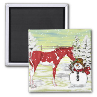Foal and Snowman Christmas Square Magnet
