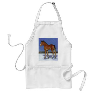 FOAL IN SNOW: EQUINE ART: COLOR PENCIL APRON