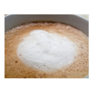 Foam on cappuccino, close-up postcard
