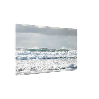 Foamy Green Ocean Waves Stretched Canvas Print