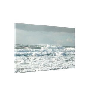 Foamy Sea Green Waves Stretched Canvas Print