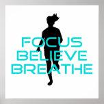 Focus Believe Breathe Aqua Poster
