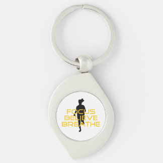 Focus Believe Breathe Yellow Running Fitness Silver-Colored Swirl Keychain