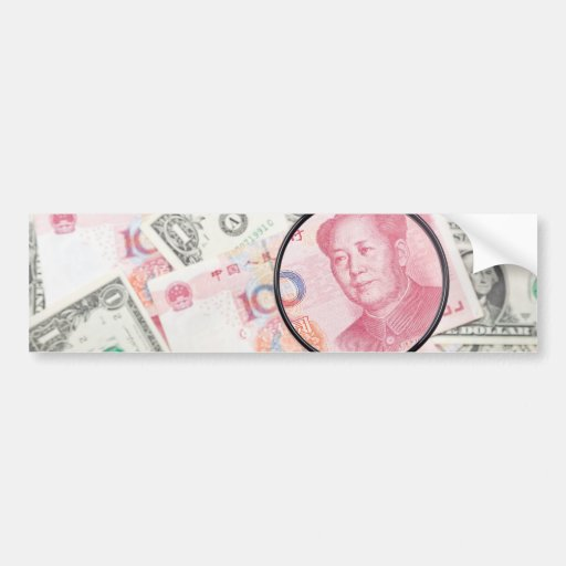 Focus on Chinese currency Bumper Stickers