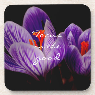 Focus on the good // Crocus Coaster