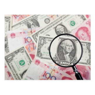 Focus on US currency Postcard
