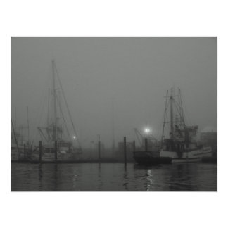 Fog and Boats Poster