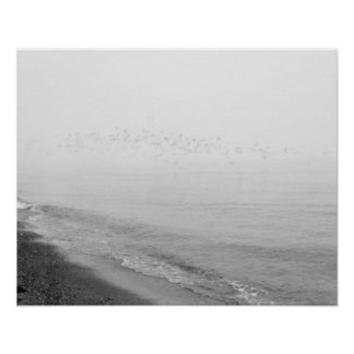 Fog and rain setting in along the shoreline poster