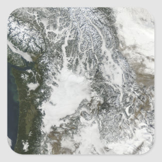 Fog and snow in the Pacific Northwest (true col Square Sticker