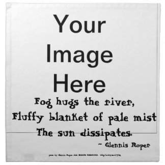 Fog Hugs the River haiku Napkin