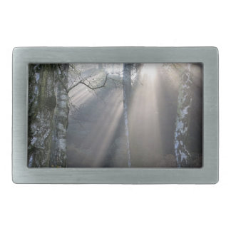 fog light forest rural landscape rectangular belt buckle
