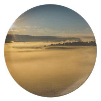 Fog On Yellowstone Lake Plate