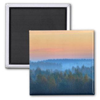 Fog Over Forest Sunrise Travel Magnet