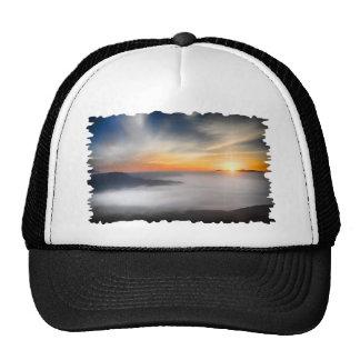 Fog over the mountains of japan during sunrise trucker hat