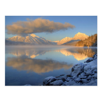 Fog rises from Lake McDonald on a very cold Postcard