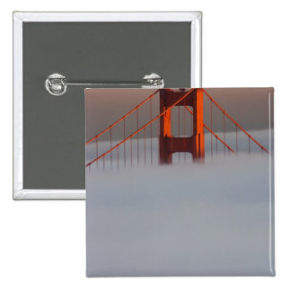 Fog rolls through the San Francisco bay covering 2 2 Inch Square Button