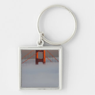 Fog rolls through the San Francisco bay covering 2 Silver-Colored Square Keychain