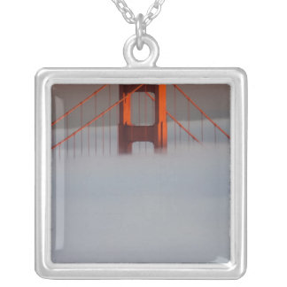 Fog rolls through the San Francisco bay covering 2 Square Pendant Necklace