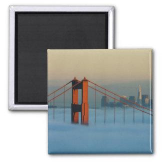 Fog rolls through the San Francisco bay Refrigerator Magnets