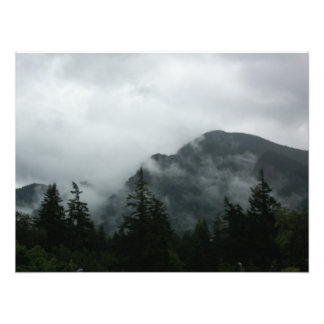 Fog Shrouded Mountain suitable for framing Photographic Print