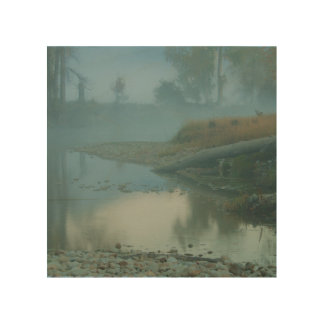 Foggy Bitterroot River Morning Design Wood Wall Decor