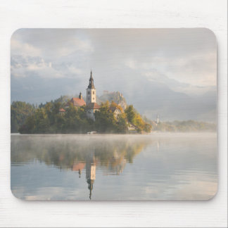 Foggy Bled Lake sunrise mousepad