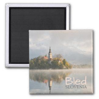 Foggy Bled Lake sunrise text magnet