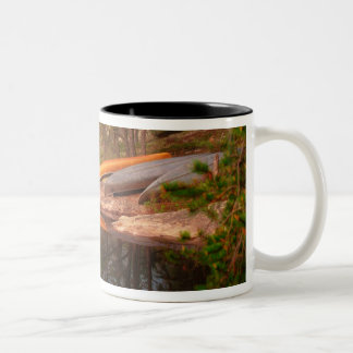 Foggy Canoe Campsite, Lake Kawnipi, Two-Tone Coffee Mug