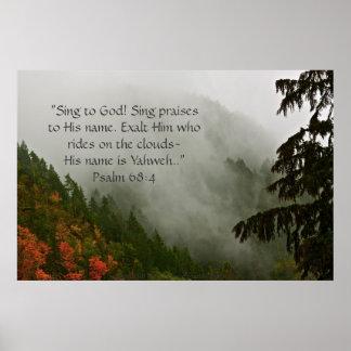Foggy Cascade Print w/Scripture Verse