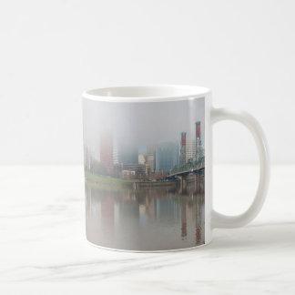 Foggy Day along Portland OR Waterfront Panorama Coffee Mug