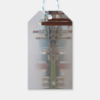 Foggy Day along Portland OR Waterfront Panorama Gift Tags