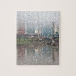 Foggy Day along Portland OR Waterfront Panorama Jigsaw Puzzle
