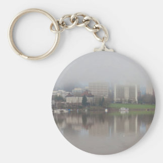 Foggy Day along Portland OR Waterfront Panorama Keychain