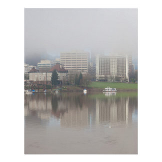 Foggy Day along Portland OR Waterfront Panorama Letterhead
