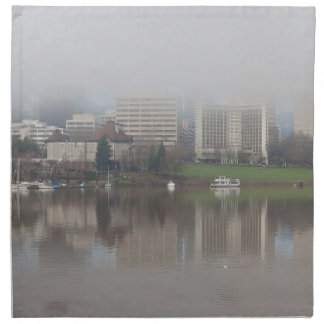Foggy Day along Portland OR Waterfront Panorama Napkin