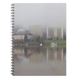 Foggy Day along Portland OR Waterfront Panorama Notebook