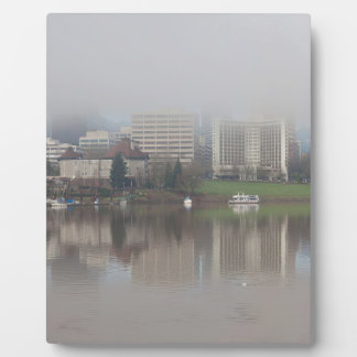 Foggy Day along Portland OR Waterfront Panorama Plaque