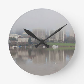 Foggy Day along Portland OR Waterfront Panorama Round Clock