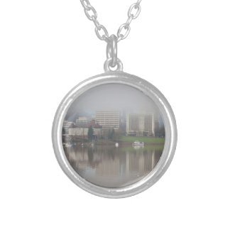 Foggy Day along Portland OR Waterfront Panorama Silver Plated Necklace