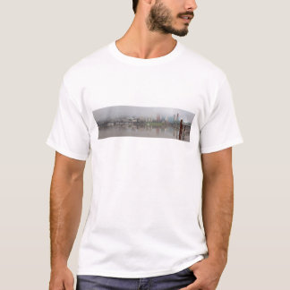 Foggy Day along Portland OR Waterfront Panorama T-Shirt