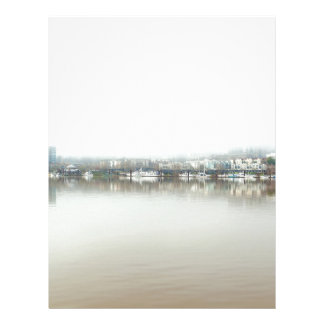 Foggy Day on Portland OR Downtown Waterfront Letterhead