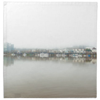 Foggy Day on Portland OR Downtown Waterfront Napkin