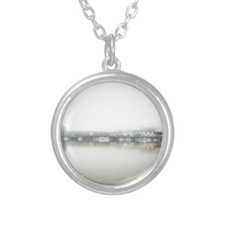 Foggy Day on Portland OR Downtown Waterfront Silver Plated Necklace