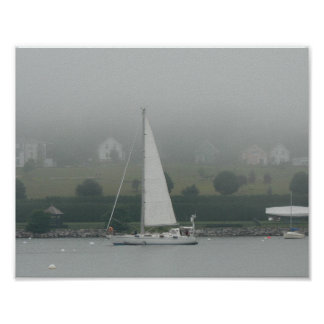 Foggy day, Penobscot Bay, Maine Poster