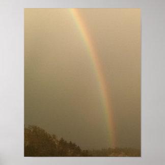 Foggy day, rainbow poster