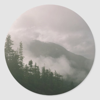 Foggy Forest Classic Round Sticker