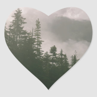 Foggy Forest Heart Sticker